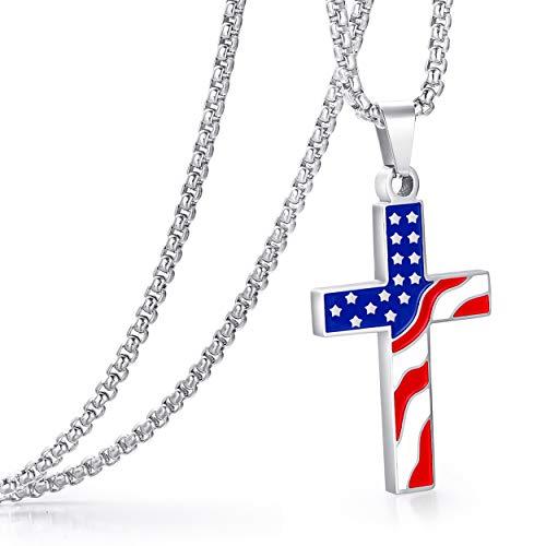 ADoor American Flag Enamel Pendant Necklace for Boy Men Women 24