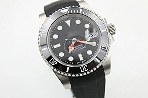 My_TimeZone Luxury Top Brand best swiss Automatic movement Black color stainless steel rubber strap ceramic bezel high quality sub watches (Rolex Color)