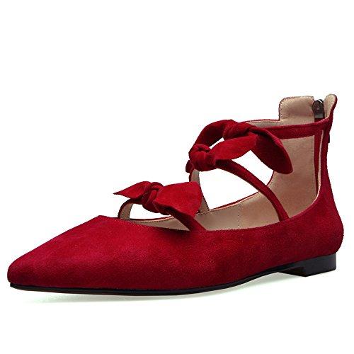 Nine Seven Cuero Moda Puntiagudos Bailarinas Planos Cómodos con Lazo y Cremallera para Mujer Rojo