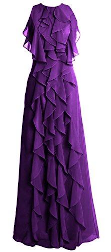 Gown Bridesmaid Party MACloth Violett O Women Evening Chiffon Long Wedding Dress Neck OvFRvq