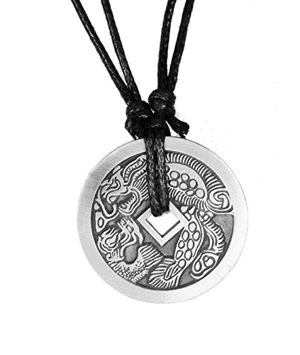 (exoticdream Chinese Lucky Coin Charm Pewter Pendant + Rope Necklace Adjustable (Dragon Turtle) )