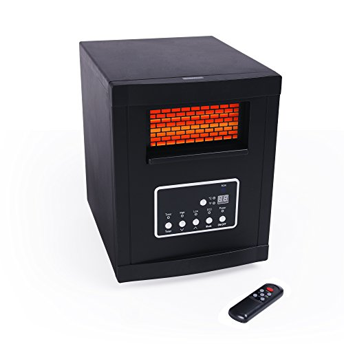 Green peak 6 element large room heater w remote control for Electric radiant heat efficiency