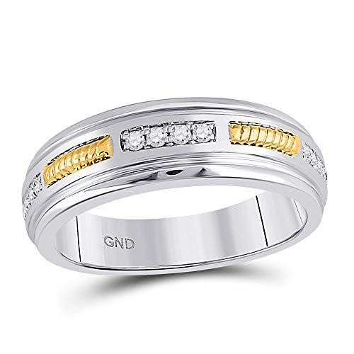 (10kt Two-tone Gold Mens Round Diamond Wedding Band Ring 1/5 Cttw)