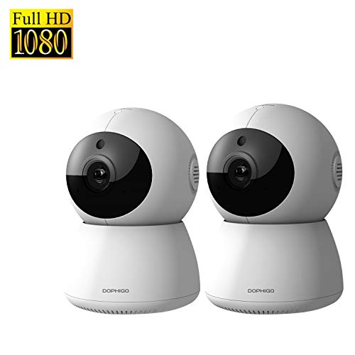Electronics : DophiGo Set of 2 1080P HD Dome 360° Wireless WiFi Baby Monitor Safety Home Security Surveillance IP Cloud Cam Night Vision Camera for Baby Pet Android iOS apps