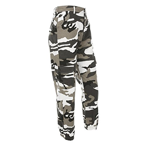 Cargo Casual Outdoor Lazzboy Pantalons Sports Camo Jeans Camouflage Pantalon Femmes Gris t7w4qaT