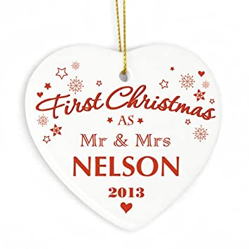 Personalised Our First Christmas Bauble Tree Decorations Wedding