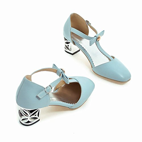 Mee Shoes Women's Fashion Mid Heel Buckle Ankle Strap Court Shoes Blue tq4bQZSp