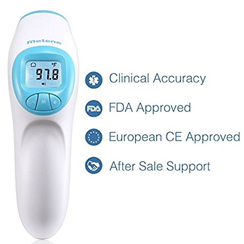 Metene Digital Infrared Non-Contact Forehead Thermometer. Suitable for Baby, Toddlers and Adults with Instant Results by Metene