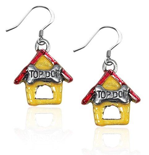(Whimsical Gifts Dog Charm Earrings (Dog House, Silver))
