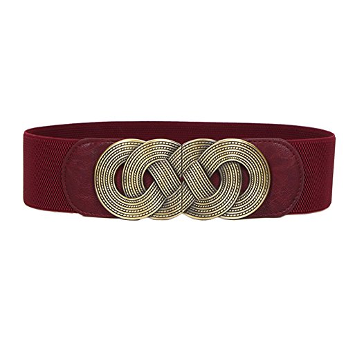 Theresahay Metal Buckle Wide Elastic Stretch Waist Belt Waistband for Women (Wine Red) - Belt Wine