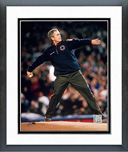 President George W Bush Throws Out The 1st Pitch at Yankee Stadium Game 3 of The 2001 World Series October 30 2001 Photo (Size: 12.5