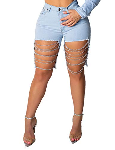 Alunzoem Womens Distressed Shorts, Chain Ripped Hole Stretch Skinny Short Jeans
