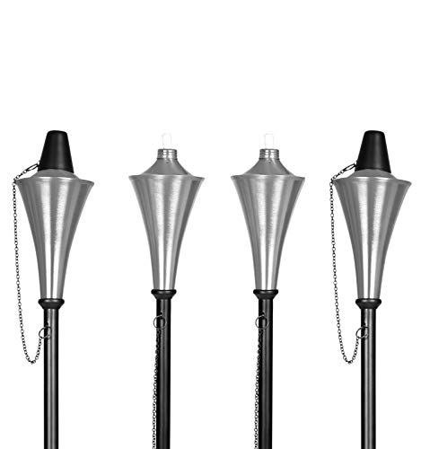 BIRDROCK HOME 4 Pack Outdoor Conical Torches | Flame Lamp | Satin Silver Patio Lighting | Metal Genie Torch -