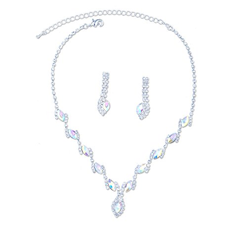 Topwholesalejewel Bridal Jewelry Set Silver Aurora Borealis Rhinestone Necklace Earring For Wedding