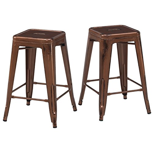 Set of 2 French Bistro Antique Copper Tolix Style Metal Counter Stools in Glossy Powder Coated Finish Includes ModHaus Living (TM) Pen
