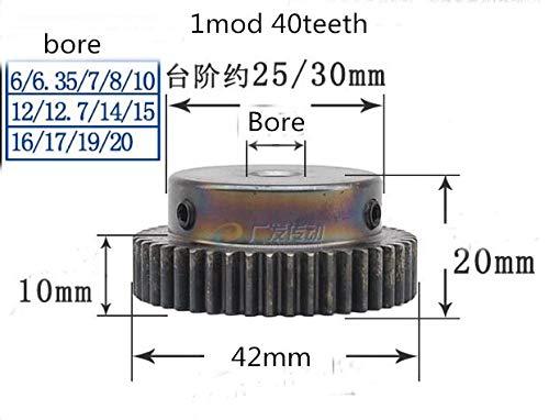 Ochoos 1pc Spur Gear Pinion 40T 40Teeth Mod 1 M=1 Width 10mm Bore 6-20mm Right Teeth 45# Steel Major Gear CNC Gear Transmission RC - (Number of Teeth: 40 Teeth, Hole Diameter: 12mm)