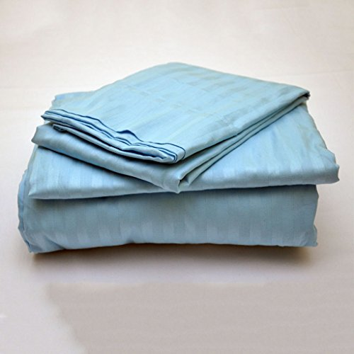 Rajlinen Luxury Egyptian Cotton 650-Thread-Count Sateen Finish 6 PCs King Size Pocket Depth (+24 Inch) Light Blue Stripe (Sateen 650 Thread)