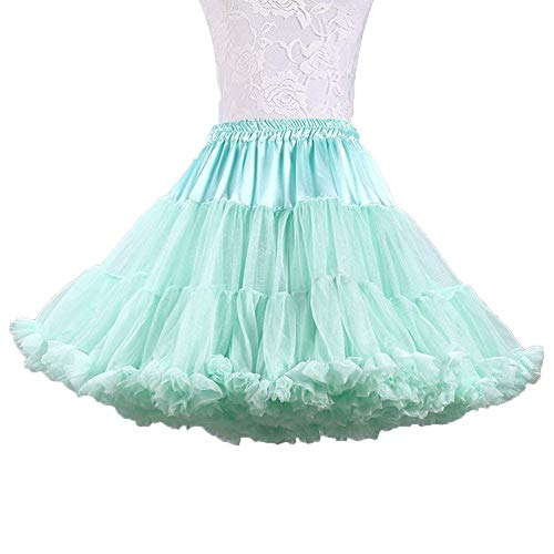 Ab.Mall Femmes Tutu Ballet Costume Jupe Luxueuse Douce Tulle Jupon Multi-Couches Vert Clair