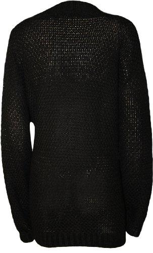 WearAll - Grande taille bouton irlandais tricoté gilet top - Hauts - Femmes - Noir - 48-50
