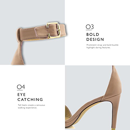 Pump Nude High Buckle Toe Heel Ankle Open Women's Shoes Platform Dress Pu Casual Strap Sandal Evening Pw6qnF