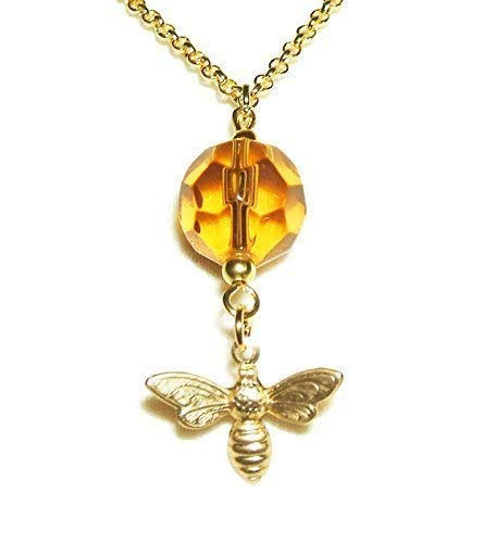 BEE NECKLACE Honey Amber GLASS CRYSTAL DROP Gold Pltd Pendant SAVE THE BEES Nature Inspired Classic