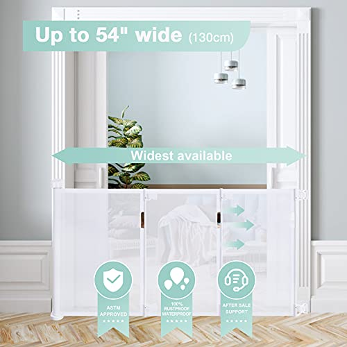 """41%2B%2BDoU43NS Retractable Baby Gate,Abaook Mesh Retractable Safety Gate for Stairs, Extra Wide Safety Baby Gate 34"""" Tall, Extends to 54"""" Wide, Dog Gate for doorways,Stairs,Hallways,Indoor/Outdoor (White)    Product Description"""