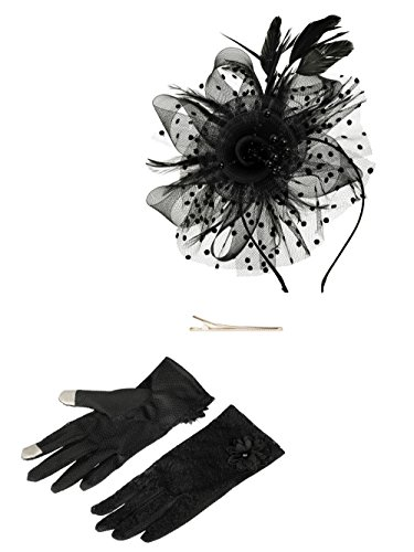 Fascinators Hat for Women Tea Party Headband Kentucky Derby Wedding Cocktail Flower Mesh Feathers Hair Clip (1-Black Set) ()