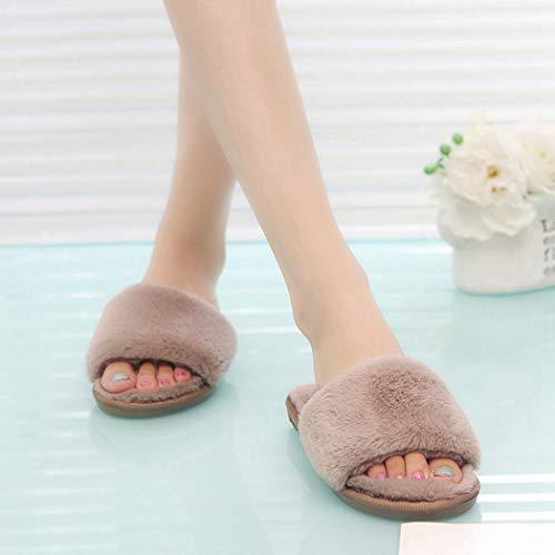 Fluffy Terlik Flip De Flops Maison En Fourrure Plat Chaud Kaki Femmes Chaussures Hiver Peluche Pantoufles CBv8qT