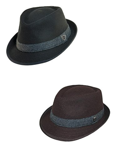 Dorfman Pacific Men's Wool Blend Fedora Hat with Herringbone Band (Pack of 2) Dorfman Pacific Wool Hat