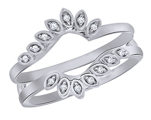 Round Cut Natural Diamond Tilted Flower Frame Solitaire Enhancer in 14K White Sold Gold (0.06 Cttw) (Diamond Solitaire Frame)