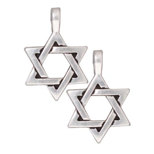 TierraCast Fine Silver Plated Pewter Large Star Of David Pendant 17mm (1)