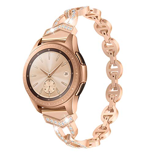 Vintage Rose Crystal - SHUDAGE Circle Openwork Smartwatch Bling Band Compatible Samsung Galaxy Watch 42mm, Female Crystal Metal Stainless Steel Wristbands Bracelet Strap for Samsung Galaxy Watch 42mm (rose gold)