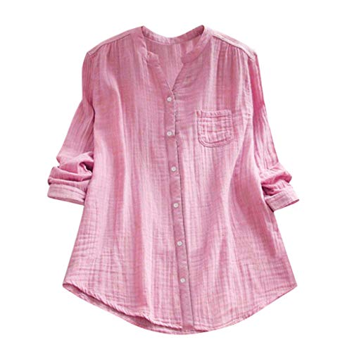 T Shirt Blouse Women Stand Collar Long Sleeve Casual Loose Tunic Tops Pink