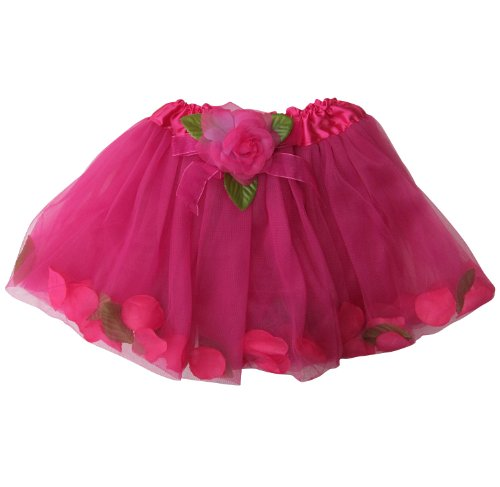Dance Fairy Costumes (Flower Petal Girls Dance Dress-Up Princess Fairy Costume Dance Tutu (Hot Pink))