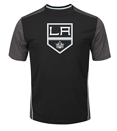 VF LSG NHL Los Angeles Kings Glowing Play Short Sleeve Crew Neck Tee, XX-Large, Black Charcoal Heather Mesh Sport Gray ()
