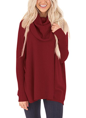 Dokotoo Womens Pullover Regular Elgant Casual Loose Amazon Long Sleeve Cowl Neck Chunky Knit Pullover Sweaters Blouse Tops Wine Large by Dokotoo (Image #4)