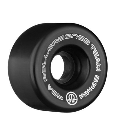 RollerBones Team Logo 98A Recreational Roller Skate Wheels (Set of 8), Black, 57mm