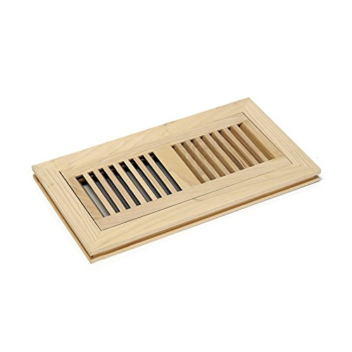 - WELLAND 4-inch by 12-inch Hickory Wood Vent Flush Mount with Frame,Floor Register Vent Unfinished, 3/4