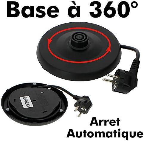 Bouilloire /Électrique 1.7L En Inox 304 /Ébullition Rapide pour le Th/é Bouilloire Sans BPA Avec Poign/ée Cool Touch et Protection Anti-/ébullition /à Sec Argent 2200W