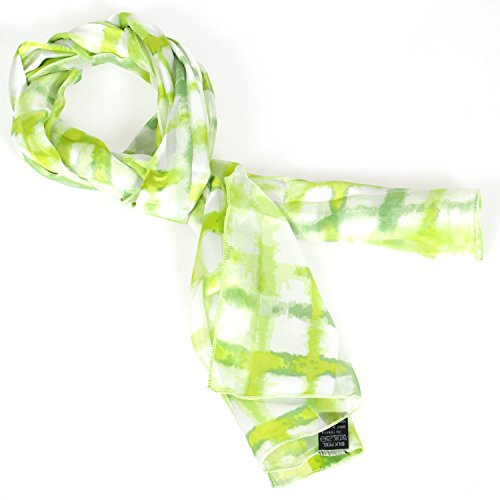 SERENITA Women's Lightweight Satin Fashion Scarves Soft Checker Lime ()