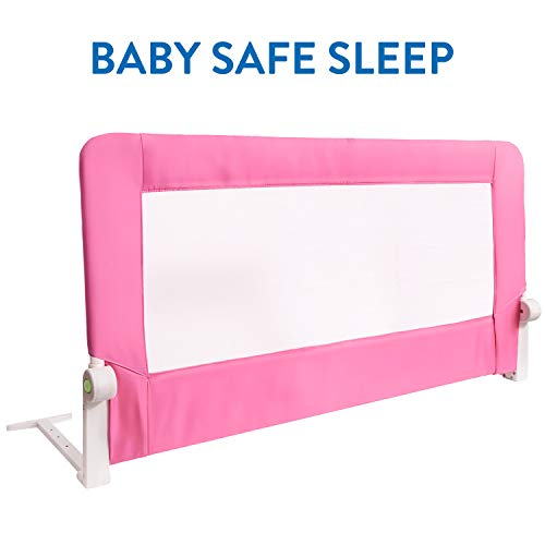 Tatkraft Guard Baby Bed Rail Foldable 120 cm Easy Fit Baby Safety Tall Bed Guard Rail for Toddlers/Kids / Children, Pink Color, Sturdy and Solid by Tatkraft