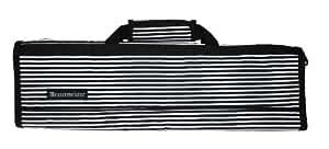 Messermeister 8-Pocket Padded Knife Roll, Black with White Stripes