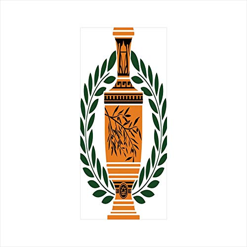 Decorative Window Film,No Glue Frosted Privacy Film,Stained Glass Door Film,Old Antique Greek Vase with Olive Branch Motif and Laurel Wreath,for Home & Office,23.6In. by 35.4In Hunter Green Orange Bla