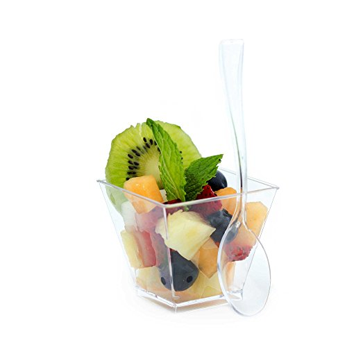 Dessert Cups 100 Ct and Plastic Spoons 100 Count, 2 Ounce Clear Disposable Square Cups, Acrylic Sample Tasting Shot Glasses, Elegant Restaurant (Buffet China Bowl)