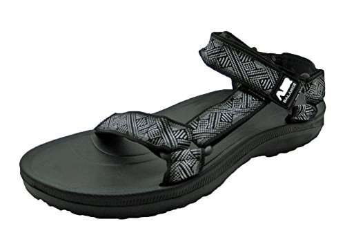 Air Men's Adjustable Straps Sandal (10 D(M) US, Black (Adjustable Strap Sandals)