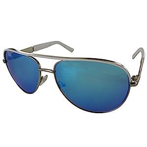 Guess Womens GF0287 Wire Frame Aviator Fashion Sunglasses, White/Blue