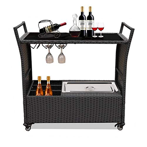 Patio Bar Carts for The Home Cart on Wheels with Wine Rack Patio Furniture Black PE Rattan Portable Bar Serving Cart with Stainless Ice Bucket Buttom Storage Glass Top (Black)