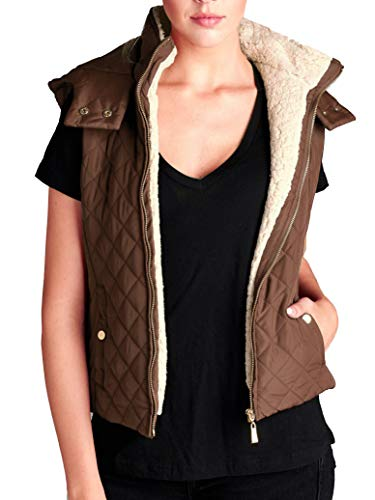 Lined Shearling Vest - Cambridge Select Women's Faux Shearling Fur Lined Quilted Zip Vest (Medium, New Brown)