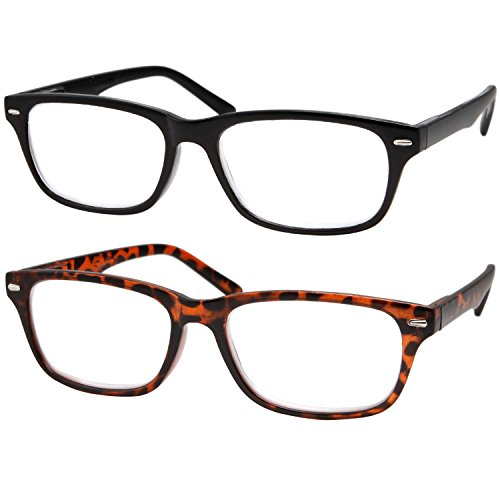 2 Pairs Deluxe Reading Glasses Slim Classic Style Spring Hinge Readers Black and - See Eyeware