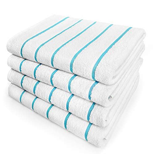 Kaufman - Terry Horizontal Stripes Beach Pool and Spa Towels - Set of 4 Pcs - 30in X 62in - 400 GSM - Luxury Hotel Towels 4-Pack (Turquoise)